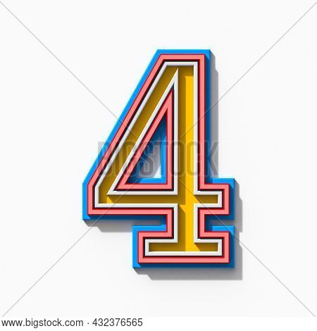 Slab Serif Colorful Outlined Font With Shadows Number 4 Four 3d Rendering Illustration Isolated On W
