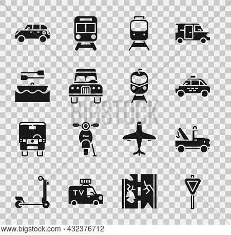 Set Road Traffic Signpost, Tow Truck, Taxi Car, Train And Railway, Car, Boat With Oars, Hatchback An