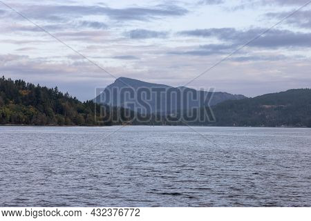 Salt Spring Island On The West Coast Of Pacific Ocean. Canadian Nature Landscape Background. Summer