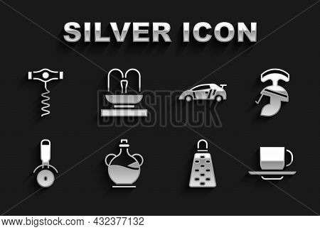 Set Bottle Of Olive Oil, Roman Army Helmet, Coffee Cup, Grater, Pizza Knife, Sport Racing Car, Wine