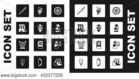 Set Old Wooden Wheel, Ancient Amphorae, Parthenon, Medieval Spear, Bust Sculpture, Zeus And Lyre Ico
