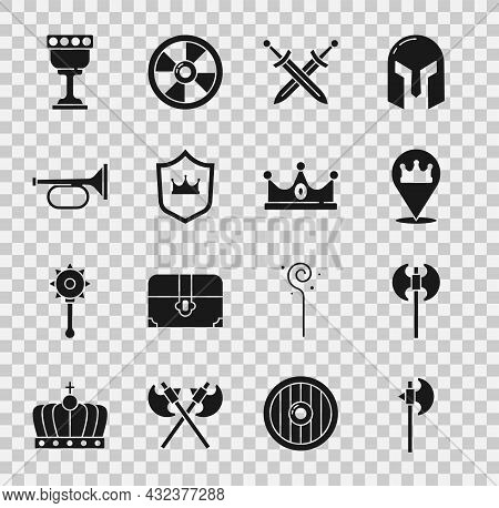 Set Medieval Axe, Location King Crown, Crossed Medieval Sword, Shield With, Trumpet, Goblet And King