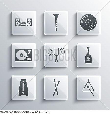 Set Drum Sticks, Triangle, Guitar, Musical Tuning Fork, Metronome With Pendulum, Vinyl Player Vinyl