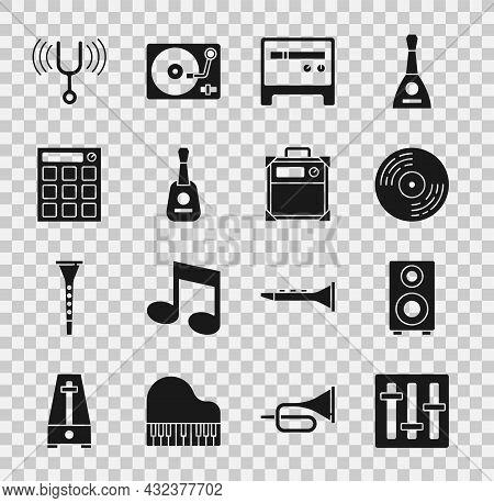 Set Sound Mixer Controller, Stereo Speaker, Vinyl Disk, Guitar Amplifier, Drum Machine, Musical Tuni
