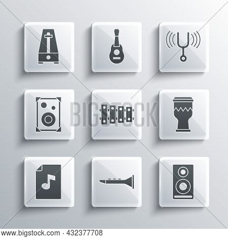 Set Clarinet, Stereo Speaker, Drum, Xylophone, Music Book With Note, Metronome Pendulum And Musical