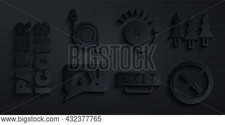 Set Fire Exit, Forest, Telephone Call 911, No Fire Match, Ringing Alarm Bell And Hose Reel Icon. Vec
