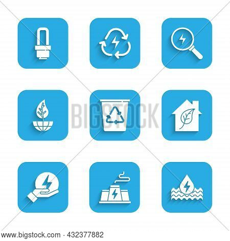 Set Recycle Bin With Recycle, Power Station Plant Factory, Water Energy, Eco Friendly House, Lightni