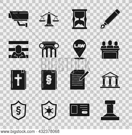 Set Stamp, Courthouse Building, Jurors, Old Hourglass, Law Pillar, Prisoner, Security Camera And Loc