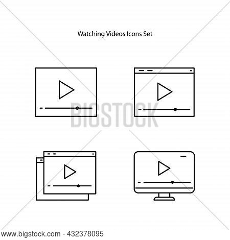 Watching Icons Set Isolated On White Background. Watching A Video Icon Trendy And Modern Watching A