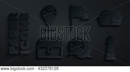Set Location Pirate, Sailor Hat, Antique Treasure Chest, Lighthouse, Pirate Flag And Icon. Vector