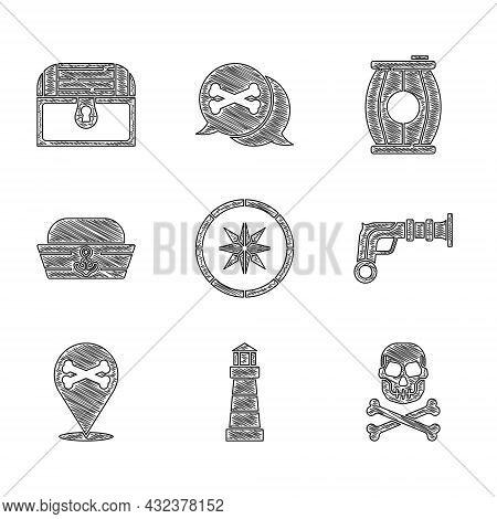 Set Compass, Lighthouse, Skull On Crossbones, Vintage Pistols, Location Pirate, Sailor Hat, Gun Powd