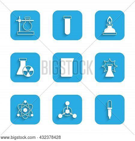 Set Laboratory Glassware Or Beaker, Molecule, Pipette, Chemical Explosion, Atom, Test Tube Radiation