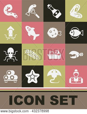 Set Fisherman, Lobster Or Crab Claw, Soy Sauce Bottle, Shark, Octopus, Of Tentacle And Hedgehog Icon