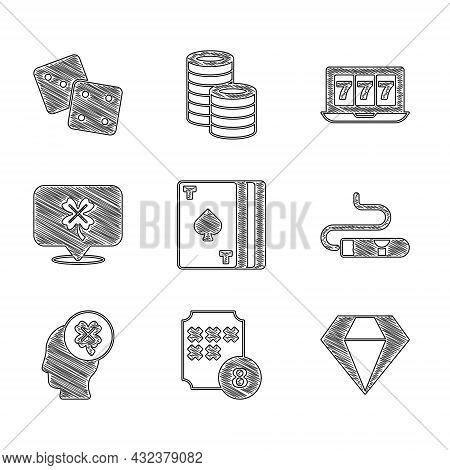 Set Deck Of Playing Cards, Lottery Ball On Bingo, Diamond, Cigar, Casino Slot Machine With Clover, O