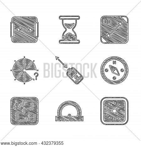 Set Laser Distance Measurer, Protractor, Clock, Compass, Route Location, Circle Of Pieces, Diagonal