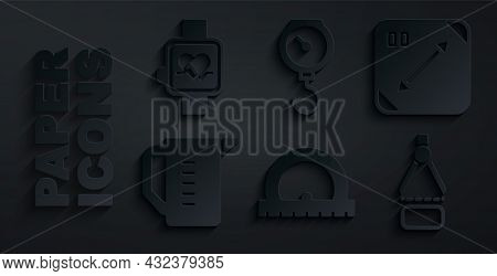Set Protractor, Diagonal Measuring, Measuring Cup, Drawing Compass, Hand Scale Spring Mechanical And