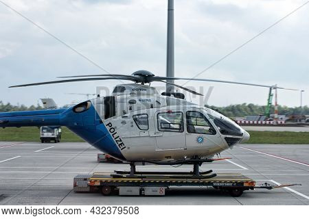 A Police Helicopter Chopper At Airport Of Munich: Munich, Germany - September 15, 2018