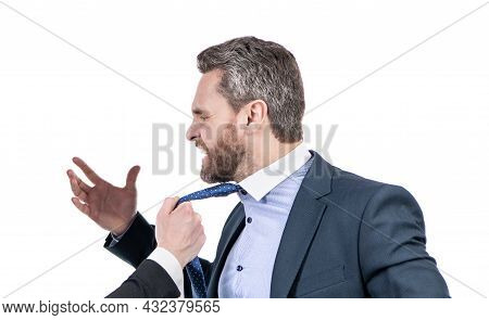 Professional Employee Man Filled With Indignation Being Pulled By Necktie, Conflict