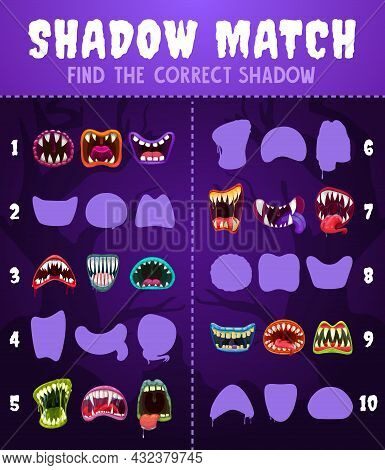 Kids Game Shadow Match With Monster Mouths, Children Logic Activity, Preschool Or Kindergarten Educa