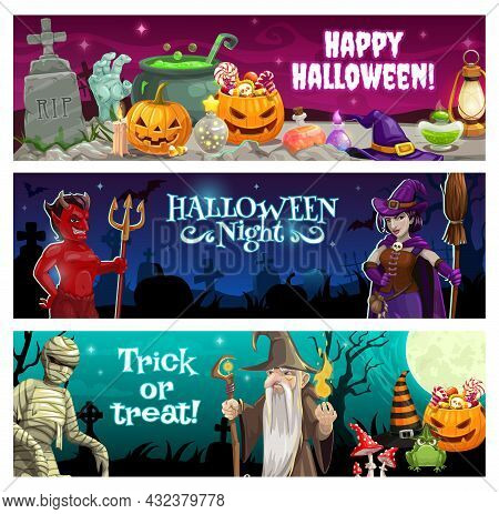 Happy Halloween Night Banners With Treats And Monsters. Devil With Trident And Witch With Broom, Mum