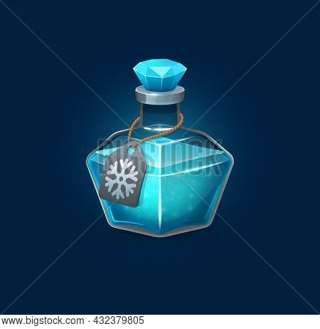 Witchcraft Glass Potion Bottle With Freeze Spell, Cartoon Vector Game Asset. Blue Magic Potion Of Wi