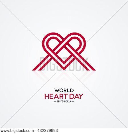 Braided Ribbon Heart Shape On White Background. World Heart Day Banner Design.