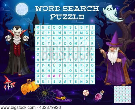 Halloween Word Puzzle Game Worksheet Or Quiz Riddle With Vampire And Witch Ghosts. Halloween Sweets