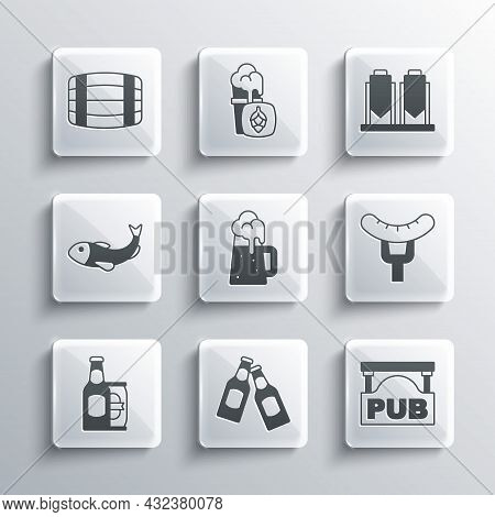 Set Beer Bottle, Street Signboard With Pub, Sausage On The Fork, Wooden Beer Mug, And Can, Dried Fis