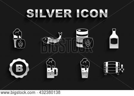 Set Wooden Beer Mug, Beer Bottle, Barrel, Glass Of, Bottle Cap With, Metal Keg, And Dried Fish Icon.