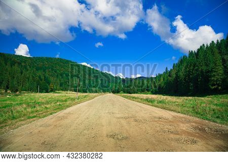 Waste Land Rustic Rural Country Side Environment Space Scenic View With Dirt Road And Old Abandoned