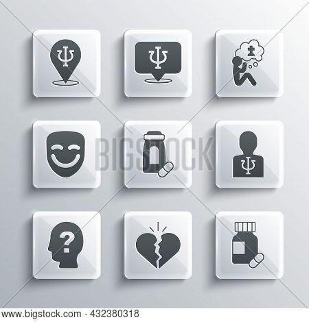 Set Broken Heart Or Divorce, Sedative Pills, Psychology, Psi, Head With Question Mark, Comedy Theatr