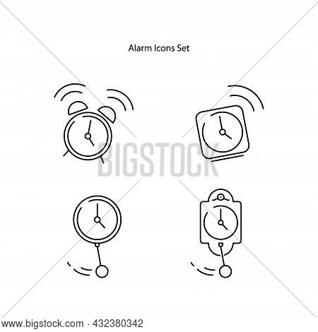 Alarm Clock Icons Set Isolated On White Background. Alarm Clock Icon Thin Line Outline Linear Alarm