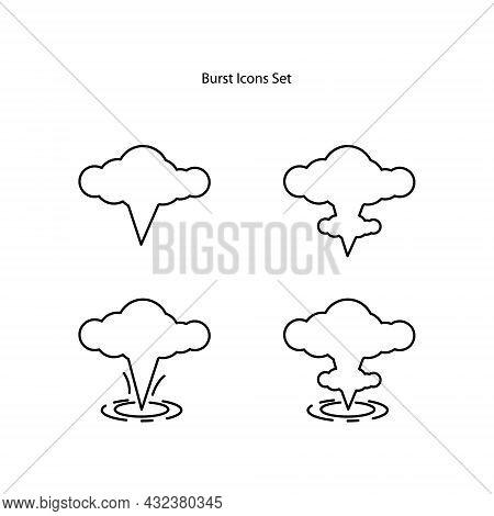 Burst Icons Set Isolated On White Background. Burst Icon Trendy And Modern Burst Symbol For Logo, We