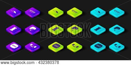 Set Skateboard, Wheel, Longboard Or Skateboard, Helmet, Stairs With Rail And Park Icon. Vector