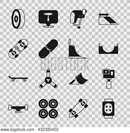 Set Knee Pads, Action Camera, Skate Park, Skateboard Helmet, Broken Skateboard Deck, Ball Bearing An