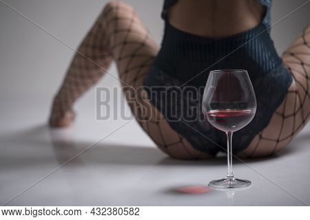 Wineglass With Red Wine. Red Wine Glass. Background.