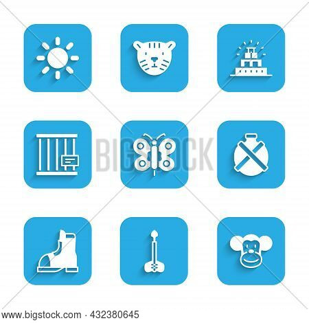 Set Butterfly, Arrow, Monkey, Canteen Water Bottle, Hunter Boots, Animal Cage, Chichen Itza In Mayan