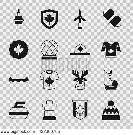 Set Beanie Hat, Skates, Hockey Jersey, Wind Turbine, Montreal Biosphere, Canadian Maple Leaf, Tv Cn