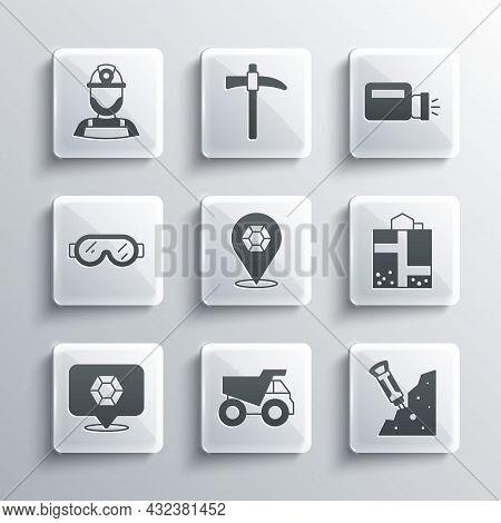Set Mining Dump Truck, Construction Jackhammer, Mine Entrance, Gem Stone, Safety Goggle Glasses, Min