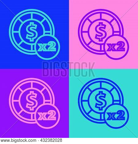 Pop Art Line Casino Chips Icon Isolated On Color Background. Casino Gambling. Vector