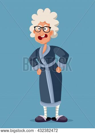 Angry Granny Screaming And Yelling Vector Cartoon