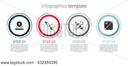 Set Diameter, Measuring Spoon, Crossed Ruler And Pencil And Diagonal Measuring. Business Infographic