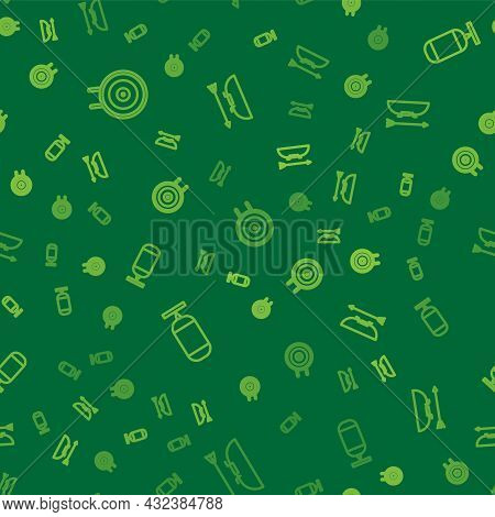 Set Line Target Sport, Punching Bag And Bow And Arrow Quiver On Seamless Pattern. Vector