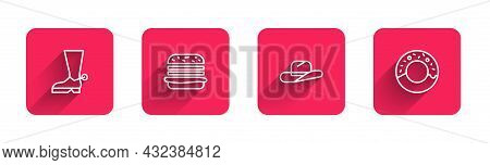 Set Line Cowboy Boot, Burger, Western Cowboy Hat And Donut With Long Shadow. Red Square Button. Vect