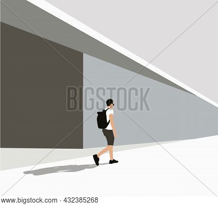 Man Wearing Casual Clothing With Sunglasses And Backpack Walks Down The Street. Colored Vector Illus