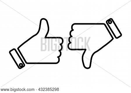 Black Thumbs Up And Thumbs Down Silhouette Icon Set. Media Communication Emblem. Vector Illustration