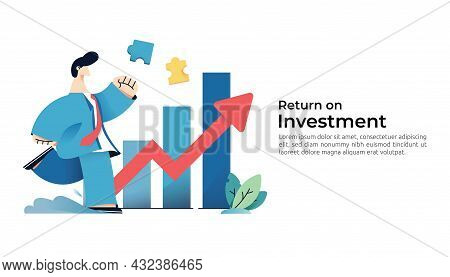 Salary Rate Increase With Growth Up Arrow And People Character. Business Profit Grow Or Income Margi