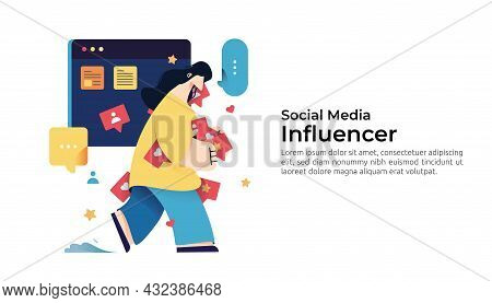 Woman Character Grabbing Like, Heart, And Share Notifications. Concept Of Addicted To Social Media A