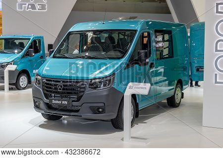Light Commercial Vehicle Gaz Sobol Nn. Gaz Company Stand At The International Commercial Vehicles Sh