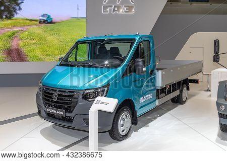Light Cargo Electric Car Gazelle E-nn. Gaz Company Exhibition Booth At The International Commercial